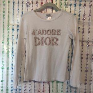 J'adore Dior white white long sleeve top